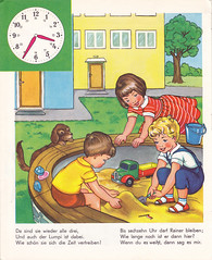 ...and play in the garden (*Pppilottchen aka dollily*) Tags: clock time uhr whattimeisit uhrzeit wievieluhristes vintagechildrensbooks altekinderbcher pestalozziverlag pv4792