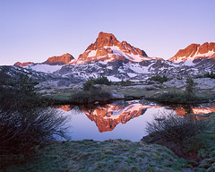 New Light on Sunday (Lightchaser) Tags: california snow reflection sunrise mediumformat landscapes anseladamswilderness fujivelvia thousandislandlake transparencyfilm bannerpeak winterinsummer horizonimagegroup til12107