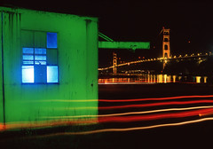 Colorful Fort Baker (RZ68) Tags: old bridge light abstract color building film night reflections dark painting golden bay gate san francisco long exposure baker fort cove marin semi velvia headlands horseshoe provia rz67 ggnra e100 rz68