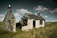Lealt, Skye (James_at_Slack) Tags: skye abandoned grass clouds scotland sheep cottage poles clearances decayed gable collapsed slates lealt roofcollapsed collapsedindustry jamesdyasdavidson