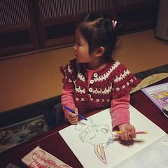 ジュエルペットぬり絵書いてやったのに、片平なぎさに夢中。