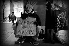 Wait For It. (D.Reyes) Tags: winter blackandwhite white money black cold home smile sign square beard please harvard homeless beggar help cardboard human bags kindness seeking less harvardsq whiteandblack ungroomed seekinghumankindness