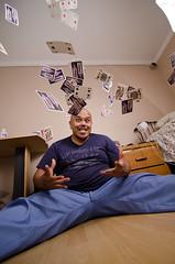 280.365 52 Card pickup (Ferdi Galeon) Tags: portrait self cards nikon funny long day sb600 umbrellas cls oker selfie strobist strobing