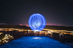 Ball of light (Simon Kveen) Tags: road lighting city blue winter light red sea sky panorama test sunlight mountain lake snow cold color simon ice water norway night clouds canon ball skyscape stars evening long exposure paint glow cityscape view invisible magic trails arna led norwegian sphere aurora shutter sindre temperature bergen supernova northern sick timer startrails borealis waterscape 500d lightpaint timescape ostery sane of kveen ulvund