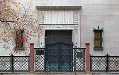 Autumn in New York (tmattioni) Tags: door newyorkcity autumn newyork tree history fall museum architecture gate manhattan library landmark ironwork madisonavenue greendoor pierpontmorganlibrary