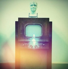 Phrenology head on a vintage TV (elainarvand) Tags: vintage weird artdeco antiques phrenology vintagetv phrenologyhead