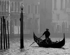 Grand Canal - Silhouetted Gondola and Gondolier - Venice (Gilli8888) Tags: venice italy grandcanal veneto silhouette gondola gondolier boat poles mooringpoles water canal