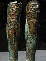 Bronze Greaves with Bone Inlay engraved with images of a Gorgon Greek Apulia Italy 550-500 BCE (mharrsch) Tags: italy oregon portland soldier greek armor 6thcenturybce warrior britishmuseum armour mythology gorgon hoplite apulia portlandartmuseum greaves bodybeautiful mharrsch