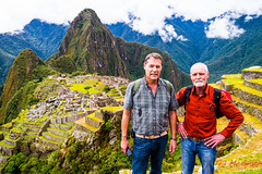 Machu Picchu - 11 Mar 2013-23/36 (Ted's photos - For me & you) Tags: travel vacation portrait ted mountains travelling green peru fog mystery standing john pose travels stonework hill terraces belts posing unescoworldheritagesite unesco jeans backpacks heads denim hillside machupicchu lowclouds redshirt settlement mytravels terraced handsonhips lowcloud outoftown rockwork myvacation mountainscene denimjeans sacredvalleyoftheinca tedsphotos johnted