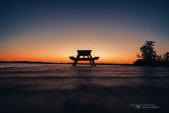Twilight Picnic (Thousand Word Images by Dustin Abbott) Tags: huycksbaycampandconferencecentre manualfocus sunset rokinon12mmf2wideanglemirrorlesslens camp adobelightroomcc 2016 mirrorless children lakeontario twilight alienskinexposurex summer dock beautiful canoneosm3 event hdr photography pleasantbay ontario adobephotoshopcc dustinabbottnet thousandwordimages canada photodujour dustinabbott princeedward ca picnictable cottagecountry