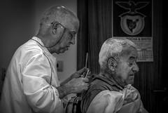 Gray hair is a blessing - ask any bald man (nagajohn) Tags: oldbarbershop pontedelima portugal
