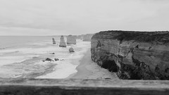 Some One Out There. (The Keeper.) Tags: ocean light shadow sea sky blackandwhite white black texture lines dark photography grey waves timber australia pointofview shade greatoceanroad twelveapostles shape