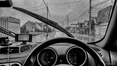 The Windshield Wipers (snakecats) Tags:  alfaromeo alfa156 156ti alfa156ti       monochrome blackandwhite rain   windshieldwiper