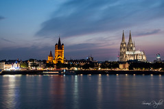 Nocturne Cologne (Simona Puglisi) Tags: night sunset sonnenuntergang cologne köln nacht dom kölnerdom longexposure nikon nikond90 tramonto colonia germania germany deutschland travel light licht lights kathedral cathedral nighttime nocturnal clouds colors water wasser rhein rhine reno fiume river fluss city cityscape skyline acqua crepuscolo nikonflickraward