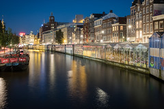 Bloemenmarkt, Amsterdam (Sunny Herzinger) Tags: night fujixpro2 market netherlands travel hour architecture blue canal europe amsterdam light noordholland nl