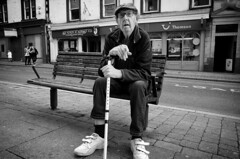 Time For A Fag (nigelhunter) Tags: time fag kendal bench street candid man cap cigarette walking stick flat old urban