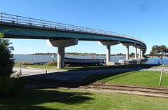 Goolwa. The controversial bridge to Hindmarsh Island which opened in 2001. (denisbin) Tags: goolwa hindmarshisland hindmarshislandbridge institue counciloffices library railwaystation train congregationalchurch