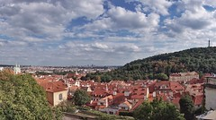 Prague panorama from the Castle (beyondhue) Tags: prague castle panorama czech republic beyondhue summer travel pano petrin rower observatory red roof view cityscape