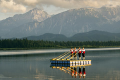 The Sound of the Mountains (parkerbernd) Tags: sound mountains alphorn players blowers raft float sunset fantastic light allgu hopfensee hopfen lake summer countryside reflection gx1 bavaria germany