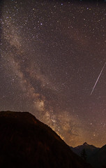milky way and a meteor (Urs Walesch) Tags: milkyway galaxy meteor night astronomy mountains stars sky