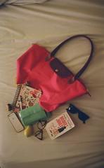 Carry on (luluferrari) Tags: film 35mm nikon nikonfm10 kodak kodak400 hotel hotelroom bag whatsinyourbag longchamps carryon luggage travel working packing