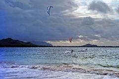 Kailua Beach (5) (AntyDiluvian) Tags: hawaii 2001 30thanniversary oahu northshore beach kailuabeach whitesand surf kiteboarding clouds kitesurfing kailua