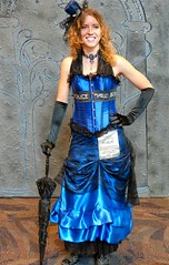 The Lady Tardis (sharon'soutlook) Tags: female woman tardis blue hat redhair umbrella tardiscostume dress gown