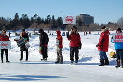Winterlude Protest - lots of interest from skaters on the Canal!