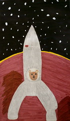 Berou the bear in space (catheadsix) Tags: voyage stars paint earth space planets rocket sharpie fusee mysketchbook colouredpencils berouthebear