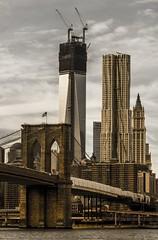 Freedom Tower coming soon (Jack Zalium) Tags: nyc newyorkcity bridge usa newyork brooklyn buildings construction unitedstates dumbo brooklynbridge eastriver freedomtower