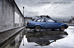 AE86 Corolla Nikon D7000 (C. Campbell) Tags: sky west reflection car oregon photography cool nikon nw northwest cloudy c north eugene rig toyota vehicle springfield lower campbell sick lowered corolla jdm drift gts stance drifter ae86 yota steeze d7000