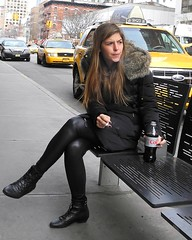 smoke and a coke (omoo) Tags: newyorkcity cars girl chelsea traffic boots manhattan cigarette coke streetscene taxis cokebottle cocacola chelseamarket beautifulgirl waitinggirl ninthavenue cigarettesmoking yellowcabs girlinblack bootsblack girlwaiting dscn5573 basicblack sidewalkbench blackspandexpants cokeinbottles girlsmokingcigarette smokeandacoke smokingandcocacola girlsmokingcigaretteanddrinkingacoke girlwearingblackspandexpants