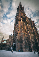Strasbourg Mnster HDR 2 (Guitar Abroad) Tags: street travel sunset orange france church architecture clouds frankreich europa europe day angle cathedral distorted cloudy gothic wide strasbourg huge hdr mnster