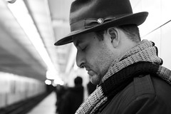 202. Profile of a gentleman (enfys photography) Tags: bw toronto hat scarf canon subway blackwhite steve profile handsome fedora gentleman mylove day202 t3i scruf 365project