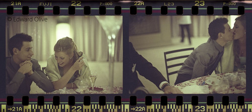 35mm film strip of young couple in wedding shots 22 & 23 - Edward Olive photographer fotógrafo photographe Fotograf