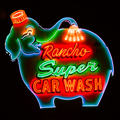 Rancho Super Car Wash (Thomas Hawk) Tags: california usa elephant car neon unitedstates fav50 10 unitedstatesofamerica palmsprings super fav20 carwash wash ranchomirage fav30 riversidecounty fav10 fav25 fav40 superfave ranchosupercarwash