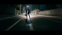 Lynn.Ke (HIKARU Pan) Tags: street light portrait woman reflection girl night standing outdoors photography holding asia shanghai boots chinese handbag youngwoman backlighting china1 35l canonef35mmf14lusm onepiecedress 5d2 gettychina13q3