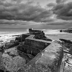 St Monans - Fife (Michael~Ashley) Tags: white seascape black st wall clouds landscape mono scotland pier waves harbour fife jetty scenic dramatic monans