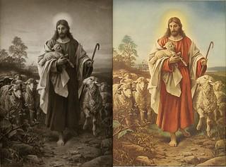 Der gute Hirte, The Good Shepherd 1887 - B. Plockhorst  - Bernhard Plockhorst