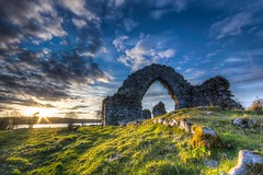 Rays and Ruins (Aaron_S.) Tags: ireland sunset sky irish sun church grass clouds canon rocks europe ruin sigma eire rays hdr highdynamicrange roscommon sigma1020mm 60d