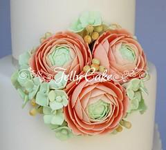 Mint Chevrons Wedding Cake (www.jellycake.co.uk) Tags: wedding green cake peach mint ranunculus hydrangea wiltshire squires chevrons jellycake weddingcakeshowroom