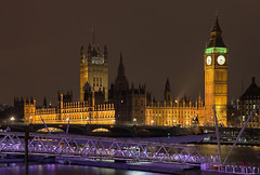 Westminster Palace - London (david.bank (www.david-bank.com)) Tags: uk winter england london clock westminster thames architecture night reflections river democracy europe time britain housesofparliament bigben