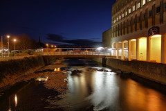 Aberavon Centre and River (Tyrone Williams) Tags: street longexposure nightphotography bridge water stone night canon reflections river flow lowlight streetlight exposure stonework places manual ml hdr magiclantern nightexposure aberavon longexposures porttalbot nightimage bracketed canon1740lf4 nighthdr canon1740lf4usm canon7d hdraward riverafan