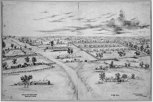 Camp Kearney at Davenport, Iowa, December 20, 1865. The Dakota Prison is at top left. Drawing by W.S. Harnon. National Archives. Courtesy Jim Jacobsen and Davenport Public Library.