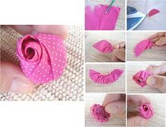 achado na net. adorei fazer rosa de tecido....pap (ednapatchearte) Tags: como de rosa pap fazer tecido