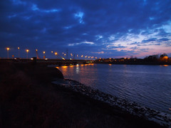 New Loughor railway bridge 25th March 2013 (1) (Gareth Lovering) Tags: bridge water swansea wales night river landscape group railway trains olympus llanelli user omd lovering networkrail loughor em5 oowug