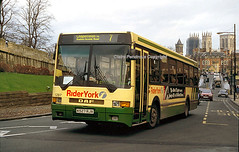 Rider York 1207, Station Road, York, 1998 (Lady Wulfrun) Tags: york bus january first 1998 minster rider daf ikarus 1207 citibus sb220 60026 k527rjx
