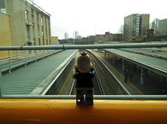 Train Spotter 'Sholley' (kenjonbro) Tags: uk bridge england london logo photographer minifigure se18 sholley kenjonbro fujifilmfinepixhs10 woolwicharsenalrailwaystation