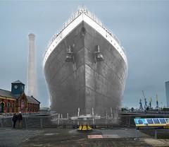 Titanic echo from the past - work in progress. (Mart_in_MCR) Tags: ireland white black dock ship ghost echo dry present northernireland rms titanic past merge ulster harlandandwoolf rmstitanic
