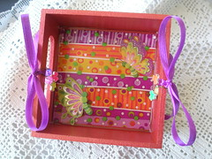 A little spring bread basket (klio1961) Tags: pink red summer orange yellow bread wooden spring basket purple handmade unique oneofakind butterflies polymerclay fimo tray resin madebyme authentic pardo cernit kitchenstuff breadbasket premo xeiropoiito decoratedobjects